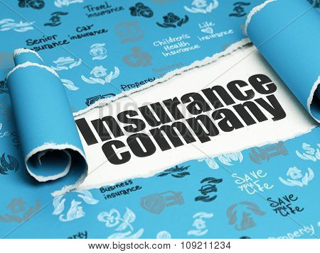 Insurance concept: black text Insurance Company under the piece of  torn paper