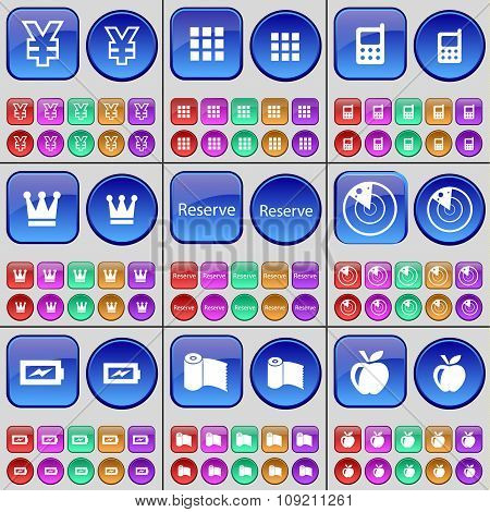 Yen, Apps, Mobile Phone, Crown, Reserve, Radar, Charging, Paper Towel, Apps. A Large Set Of Multi-