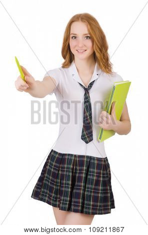 Young student female poiting isolated on white