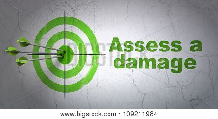 Insurance concept: target and Assess A Damage on wall background
