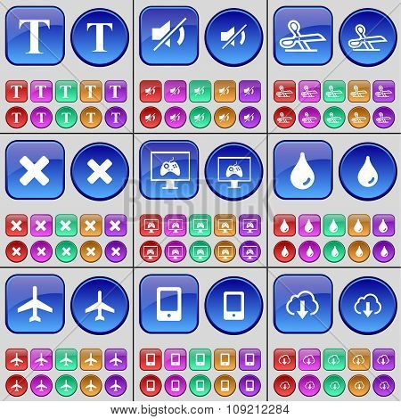 T, Mute, Scissors, Stop, Monitor, Drop, Airplane, Mobile Phone, Cloud. A Large Set Of Multi-
