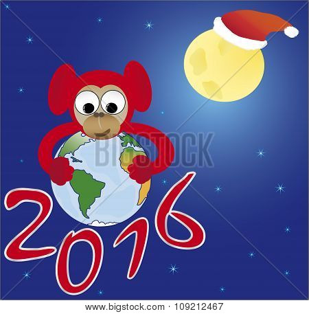 Red monkey embraces the world, the symbol of 2016
