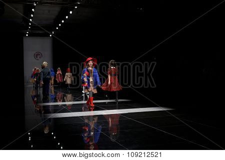 ST. PETERSBURG, RUSSIA - OCTOBER 27, 2015: Children collection of young designers at the fashion show during Mercedes-Benz Fashion Day St. Petersburg