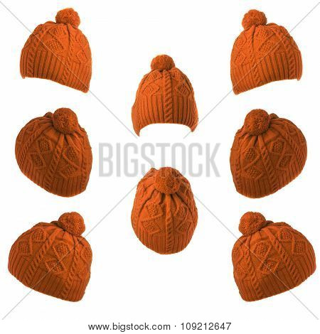 Set Of Knitted Hats With Pompon Orange