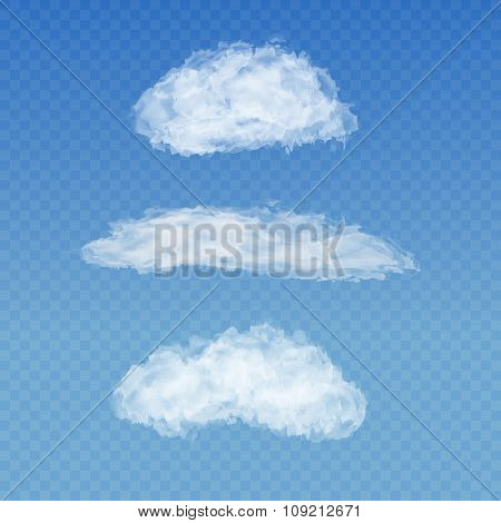 Set of realistic transparent white clouds on a plaid blue sky background