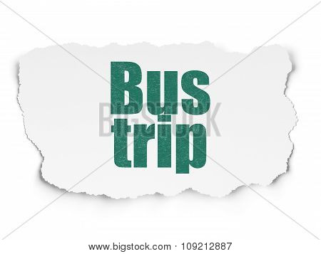 Travel concept: Bus Trip on Torn Paper background