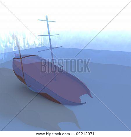 Shipwreck In The Sea