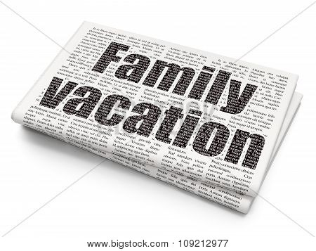 Travel concept: Family Vacation on Newspaper background