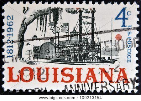 A stamp printed in USA dedicated to Louisiana (1812-1962) circa 1962