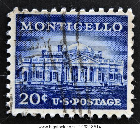 stamp printed in USA shows Monticello - the primary plantation of Thomas Jefferson