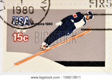 stamp printed in USA dedicated to the 13th Winter Olympic Games Lake Placid circa 1980