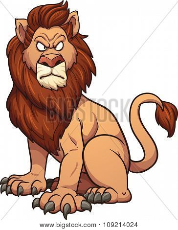 Angry cartoon lion. Vector clip art illustration with simple gradients. All in a single layer.