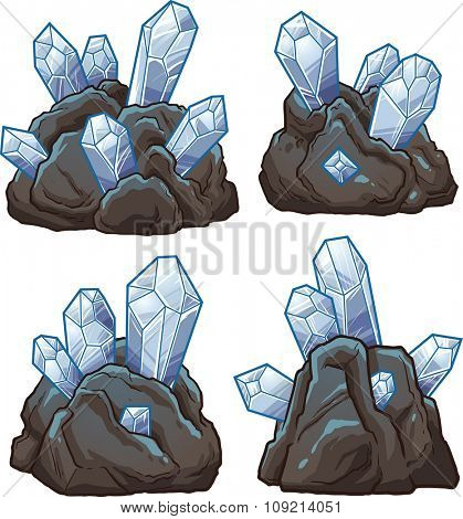 Rocks with crystals. Vector clip art illustration with simple gradients. Each on a separate layer