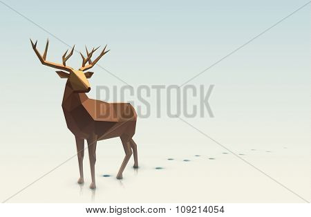 Vector polygonal illustration.Low poly deer, with space for text.