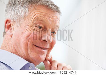 Portrait Of Smiling Senior Man At Home