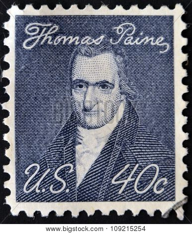 A stamp printed in USA shows portrait of Thomas Paine by John Wesley Jarvis circa 1969