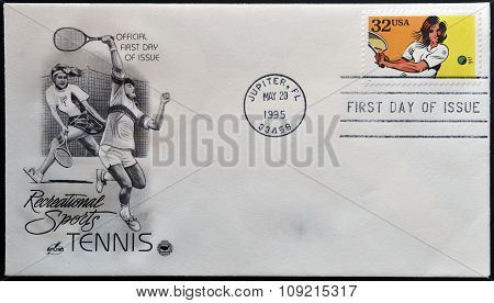 A stamp printed in USA dedicated to recreational sports shows tennis circa 1995