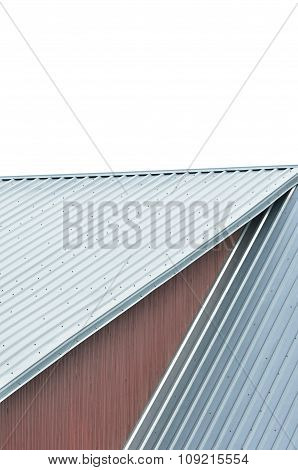 Industrial Building Roof Sheets, Grey Steel Rooftop Pattern, Isolated Rifled Roofing Panels, Large