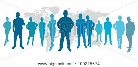 Business people in front of a map in blue