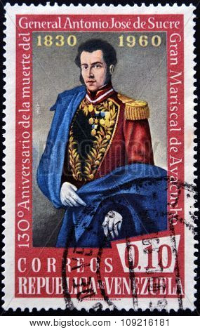A stamp printed inVenezuela shows Antonio Jose de Sucre circa 1960