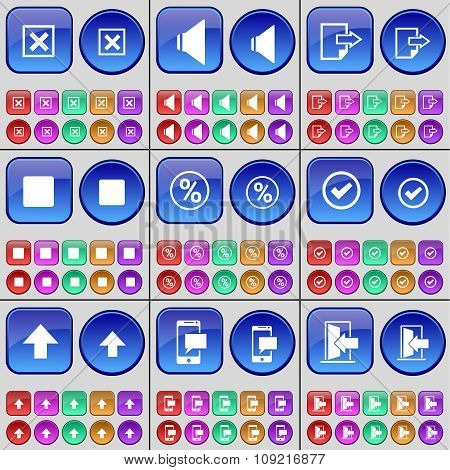 Stop, Sound, File, Media Stop, Percent, Tick, Arrow Up, Sms, Exit. A Large Set Of Multi-colored