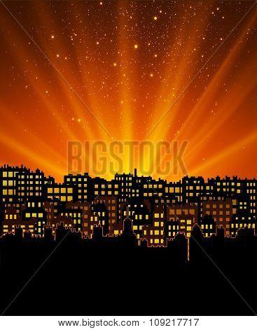 Night city with sunset