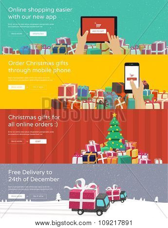 Online shopping banners for website - hands holding tablet / phone ordering christmas gifts. Flat design illustration.
