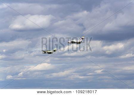 German Jet Fighter Aircraft Messerschmitt Me-262 Schwalbe And Soviet Mikoyan-gurevich Mig-15 Flying