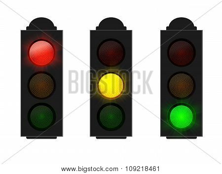 Set of Traffic Lights isolated on white