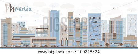 Abstract Phoenix Skyline with Color Buildings. Business travel and tourism concept with modern buildings. Image for presentation, banner, placard and web site.