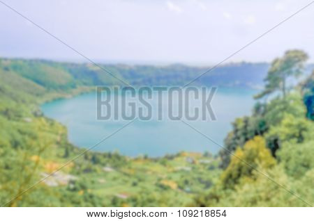 Defocused Background Of A Mountain Lake In Italy