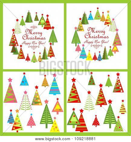 Set of paper design for winter holidays with colorful firs