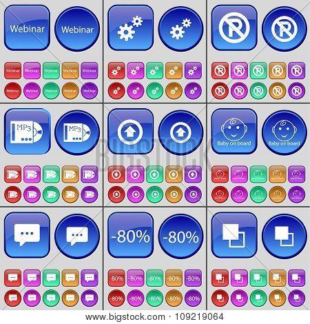 Webinar, Gear, Parking, Mp3, Arrow Right, Baby On Board, Chat Bubble, Discount, Copy. A Large Set