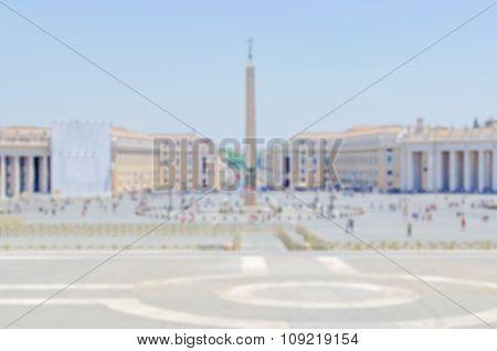Defocused Background Of St Peter's Square, Vatican City, Rome