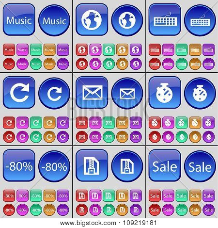 Music, Earth, Keyboard, Reload, Message, Stopwatch, Discount, Zip File, Sale. A Large Set Of Multi-