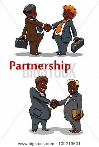 Business handshakes of happy businessmen