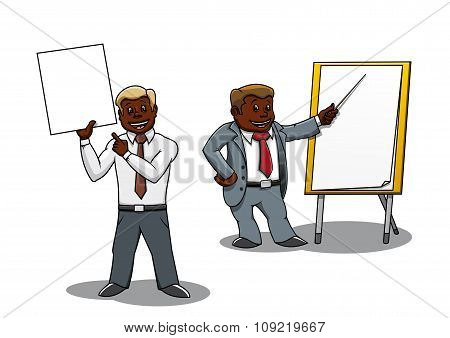Businessmen making presentation and training