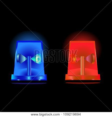Flashing Blue And Red Sirens