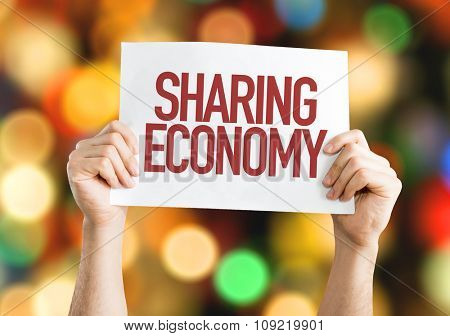 Sharing Economy placard with bokeh background