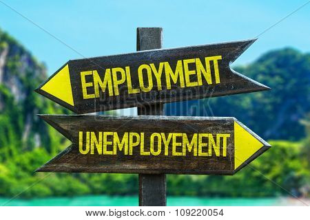 Employment - Unemployment signpost in a beach background