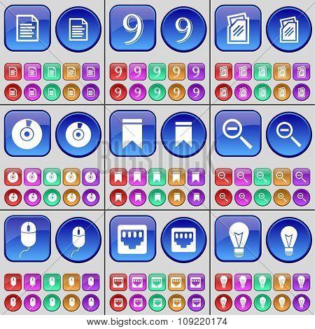 Text File, Nine, Folder, Disk, Marker, Magnifying Glass, Mouse, Lan Socket, Light Bulb. A Large