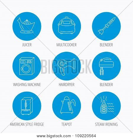 Washing machine, teapot and blender icons.