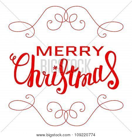 Vector Merry Christmas Card With Christmas Lettering, Handmade Calligraphy