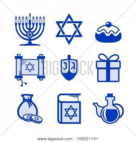 Jewish Holiday Hanukkah icons set