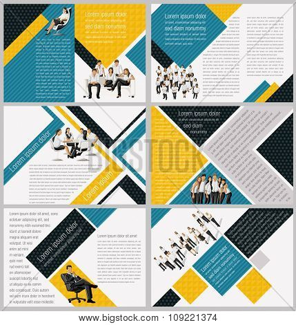 Yellow and blue template for advertising brochure with business people