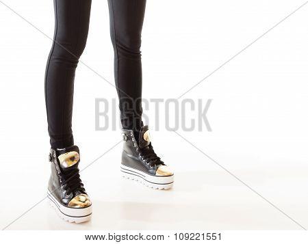 Teen Fashion. Female Legs In Sneakers