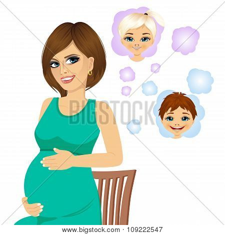 pregnant woman dreaming about her future babies