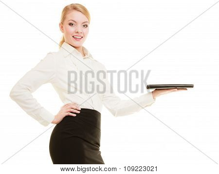 Businesswoman Showing Copy Space. Advertisement.