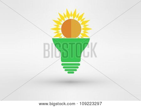 Light Green Bulb With  Sun. Vector
