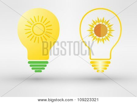 Light Bulb With Solar Panels Texture And Sun. Vector